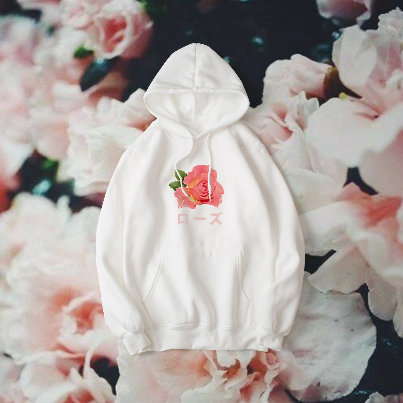 Japanese Pastel Pink Rose Hoodie In White Soldrelax Online Store