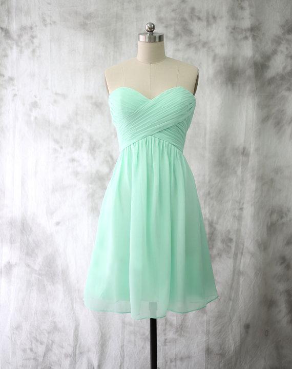 Discount Knee Length Mint Green Bridesmaid Dressshort Mint Green