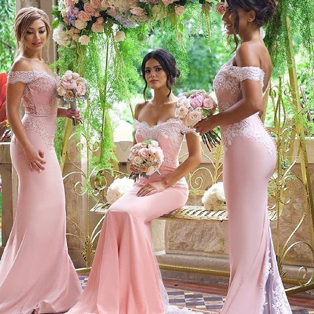 84b9aebbbc101 Pink Mermaid Bridesmaid Dresses Off-the-Shoulder Lace Wedding Party Dress