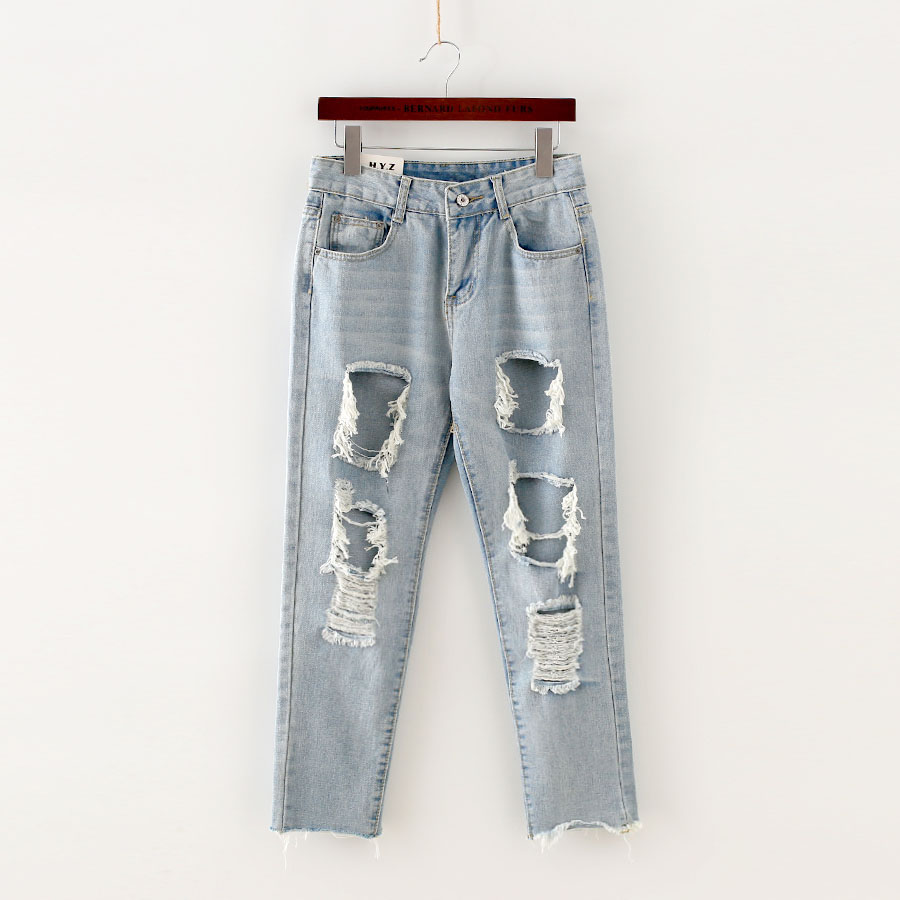 Womens Washed Cuff Distressed Straight-leg Jeans