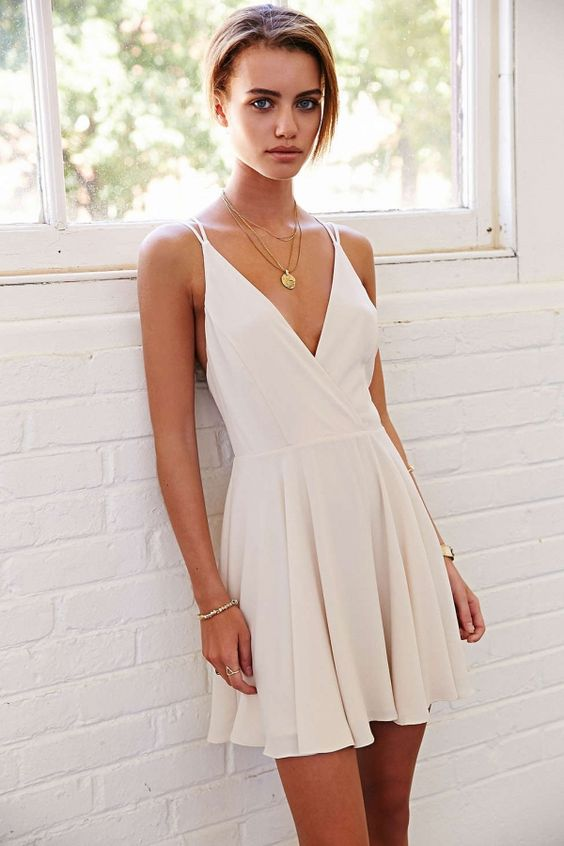 ae46ec358893 Simple V-neck Homecoming Dresses