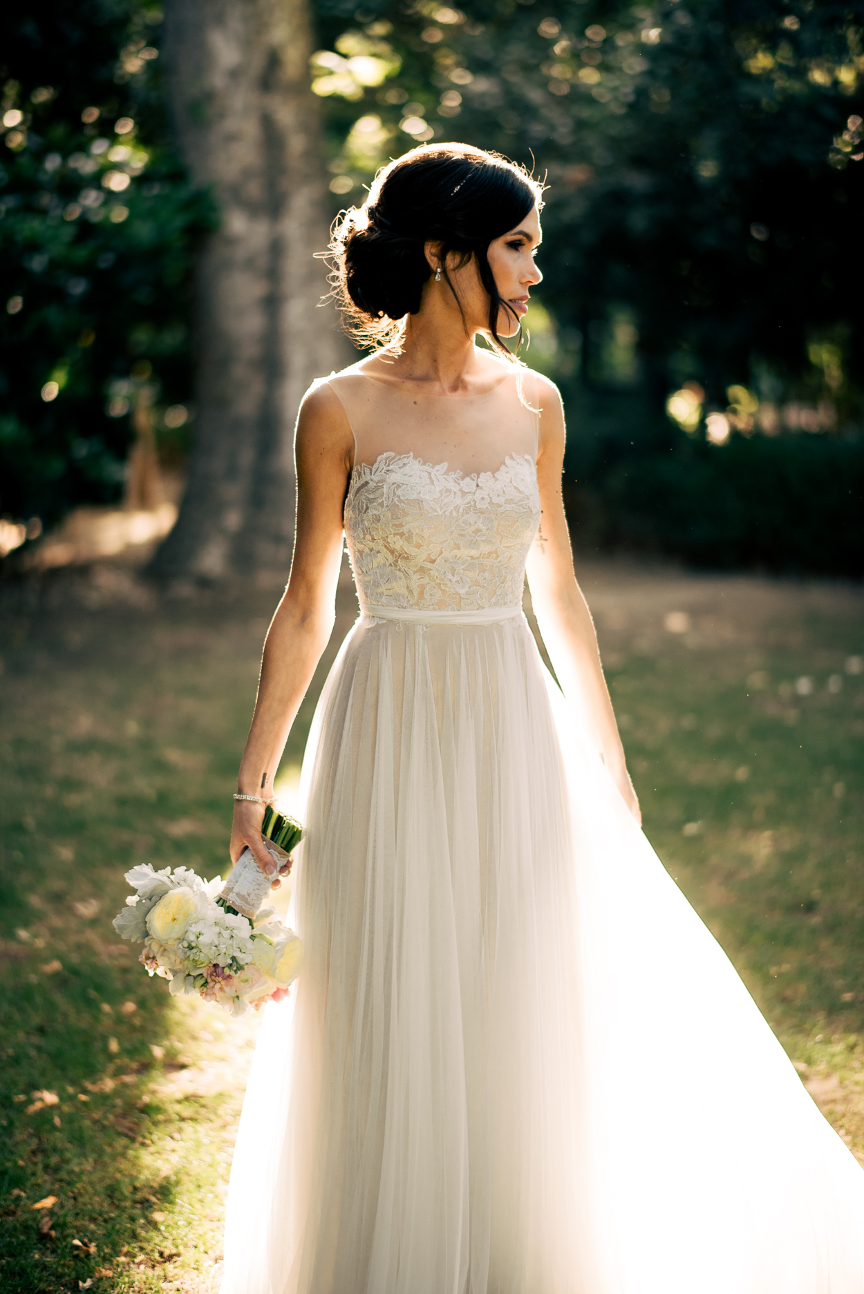 A Line High Quality French Lace Illusion Beach Wedding Dress