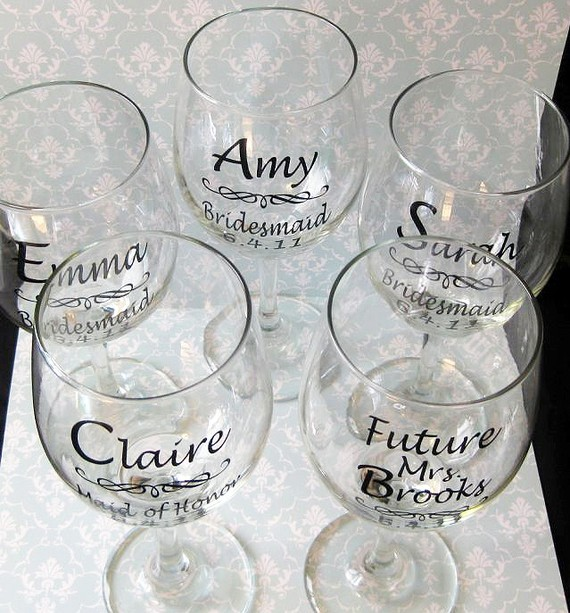 DIY Wedding Bride And Bridesmaid Wine Glasses Vinyl Decals DIY - Wine glass custom vinyl stickers
