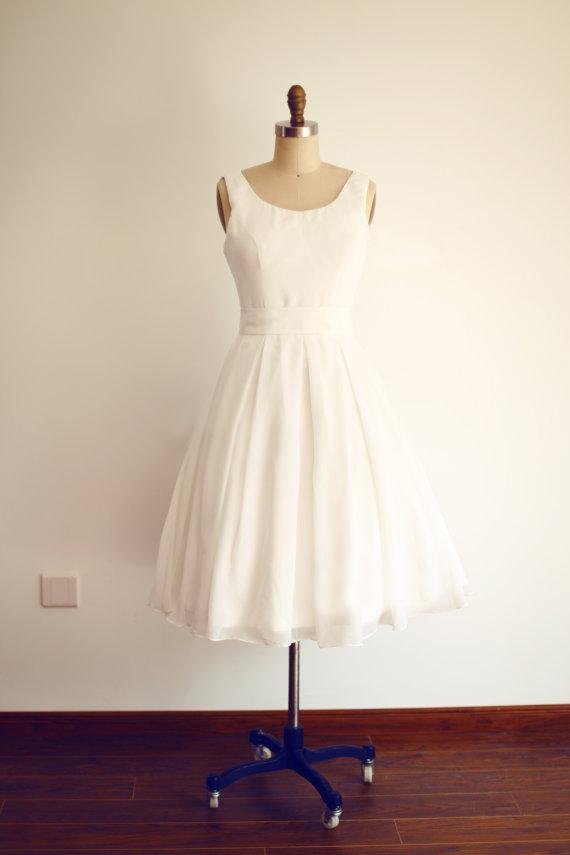 Simple Vintage V Back Short Informal Wedding Dress Sancta Sophia