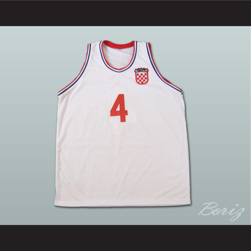 Drazen Petrovic Retro Euro Basketball Jersey Croatia White Any Size ... 5db0dc828