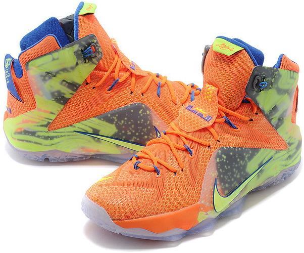 Lebron 12 Orange Green Blue Shoes