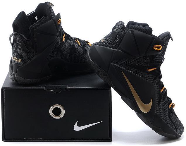 Lebron 12 Black Golden Shoes