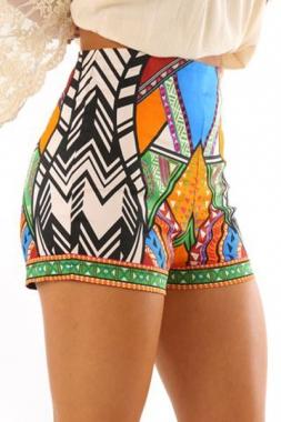 efc2fd415b88c Multicolor tribal print party high waist shorts lc71194 22 21079 original