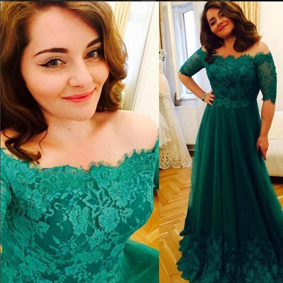 07891727fb0 Half Sleeves Off-shoulder Long Lace Prom Evening Dresses 2017 Plus Size  Prom Formal Gowns