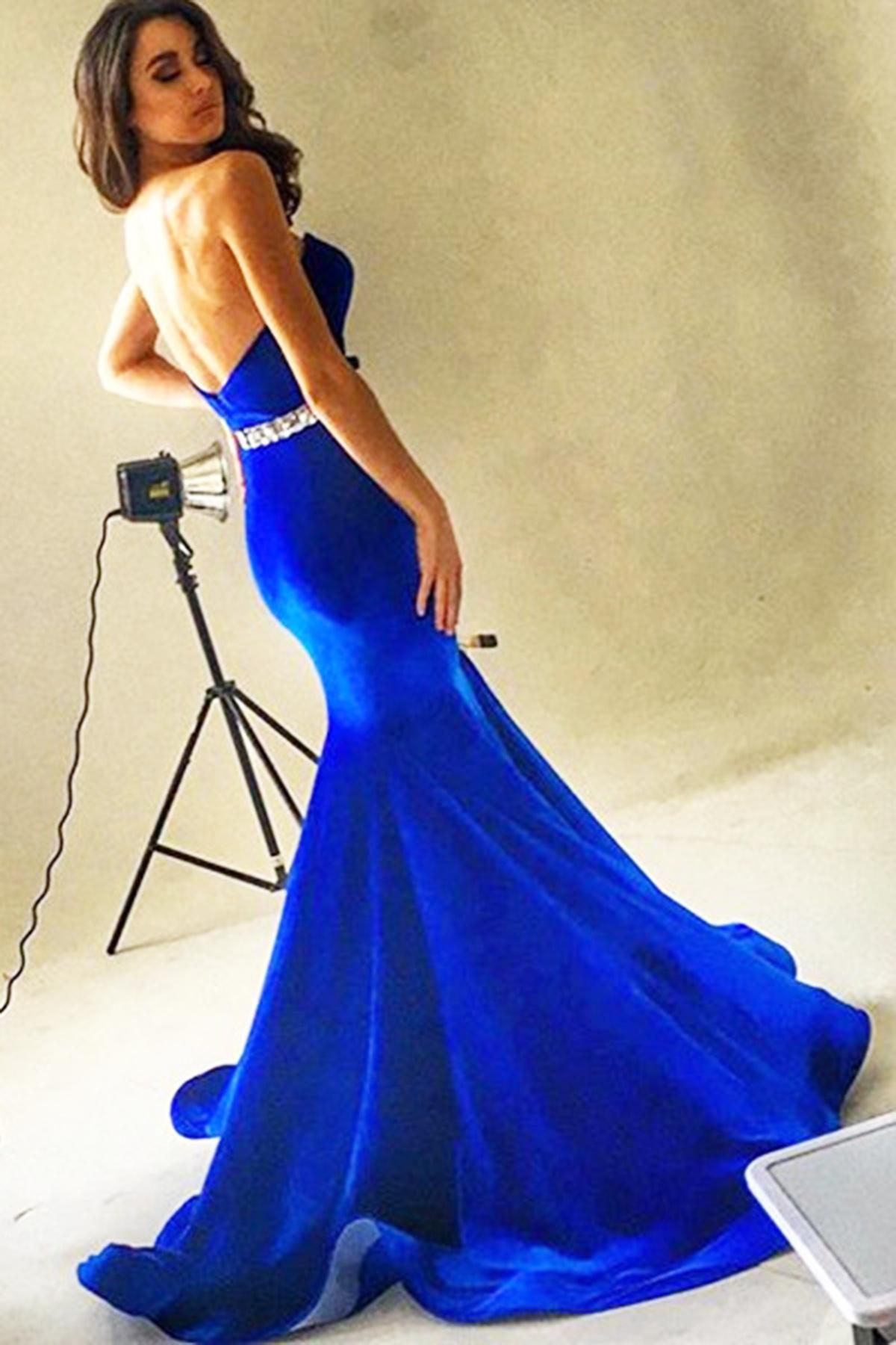 62cc80db06f Royal blue velvet backless long sequins mermaid formal prom dress ...