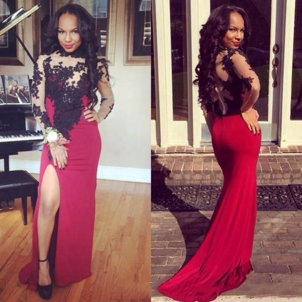 Long Plus Size Full Sleeve Prom Dress Sheath High Neck Lace Spandex Zipper Sweep/brush Train For Homecoming