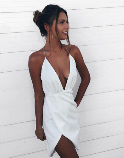 22930870de10 Hot Sexy Asymmetrical Deep V-Neck White Short Homecoming Dress ...