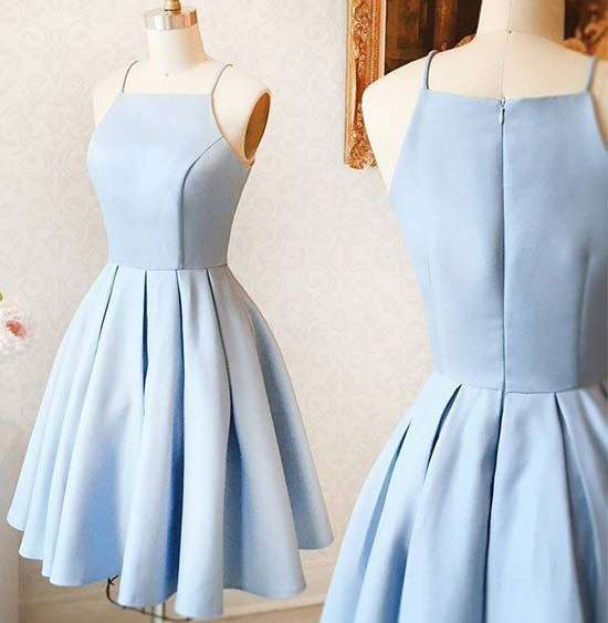 Simple Spaghetti Straps Light Blue Short Prom Dress Cheap Homecoming ...