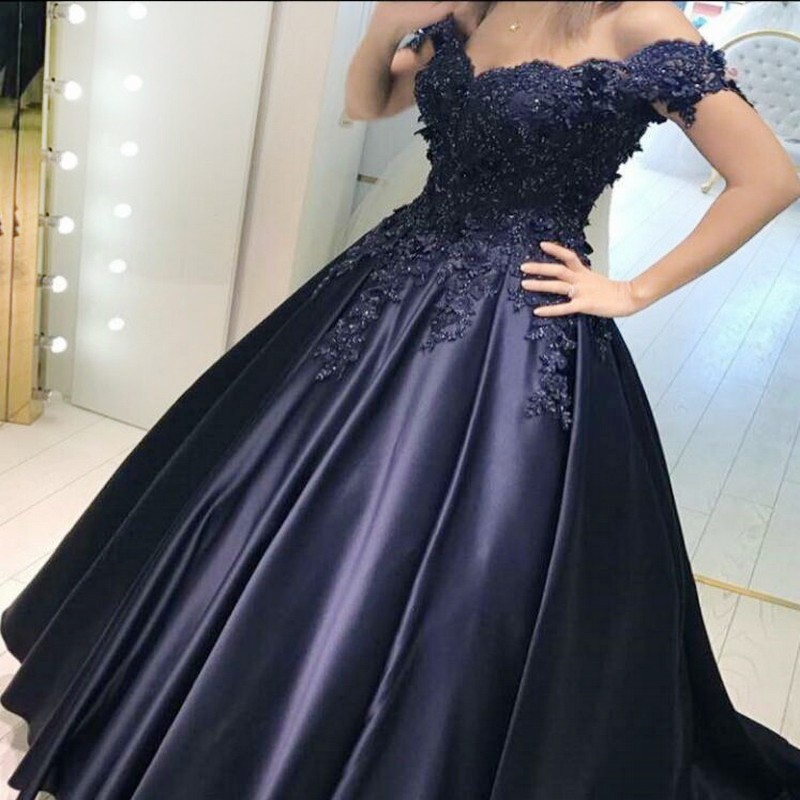 2017 Ball Gown For Prom Large Size Short Sleeves Prom Dress Ball Gown Off-the-shoulder Beading Satin Chiffon Zipper Sweep/brush Train For Prom