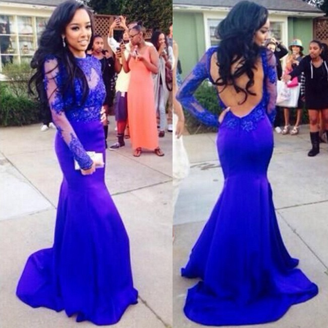 Long Large Size Full Sleeve Prom Dress Mermaid Round Applique Satin Chiffon Backless Sweep/brush Train For Evening