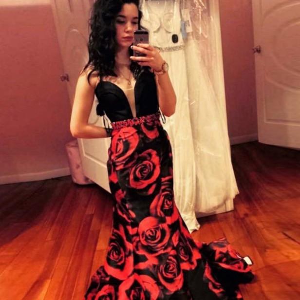 2017 Large Size Sleeveless Prom Dress Mermaid V-neck Printed Satin Chiffon Zipper Sweep/brush Train For Evening