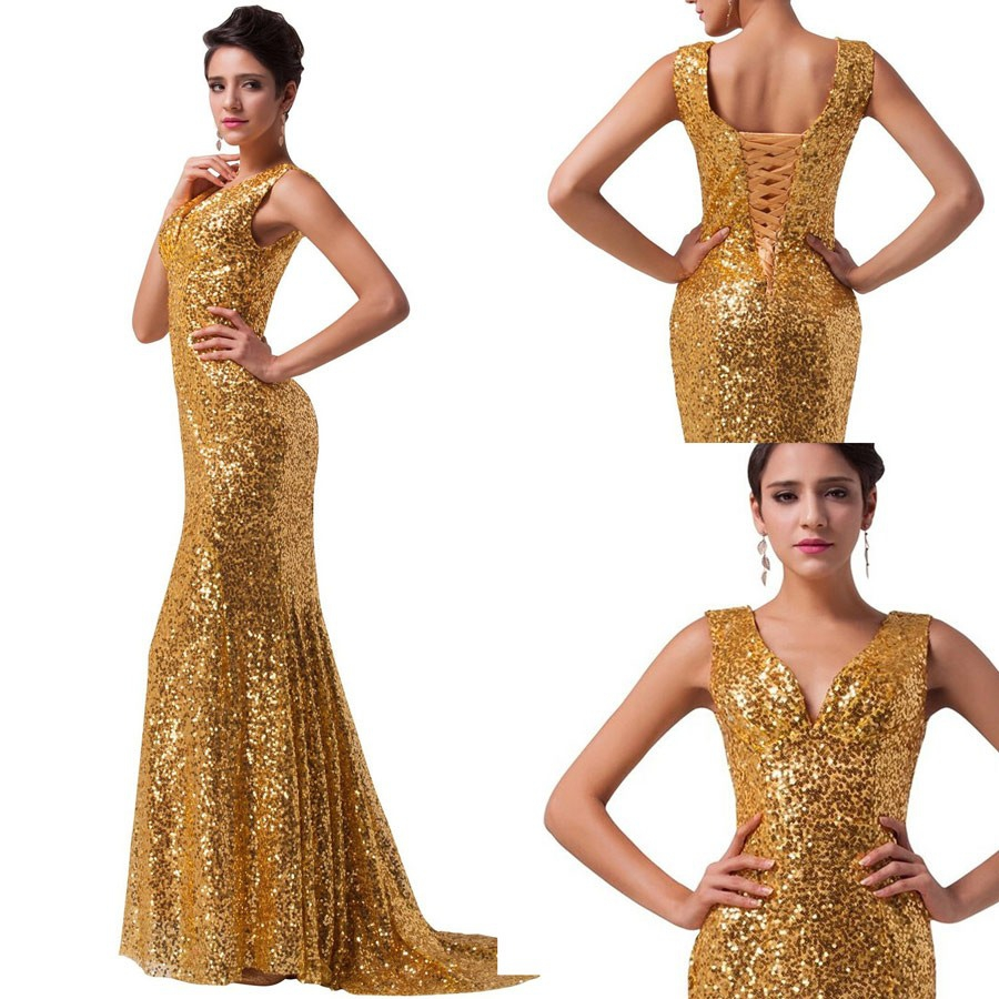 Large Size Sleeveless Prom Dress Mermaid V-neck Sequin Sequined Lace Up Sweep/brush Train For Evening
