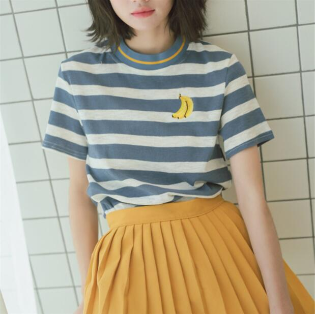666038fb3 Banana Embroidered Striped T-shirt on Storenvy