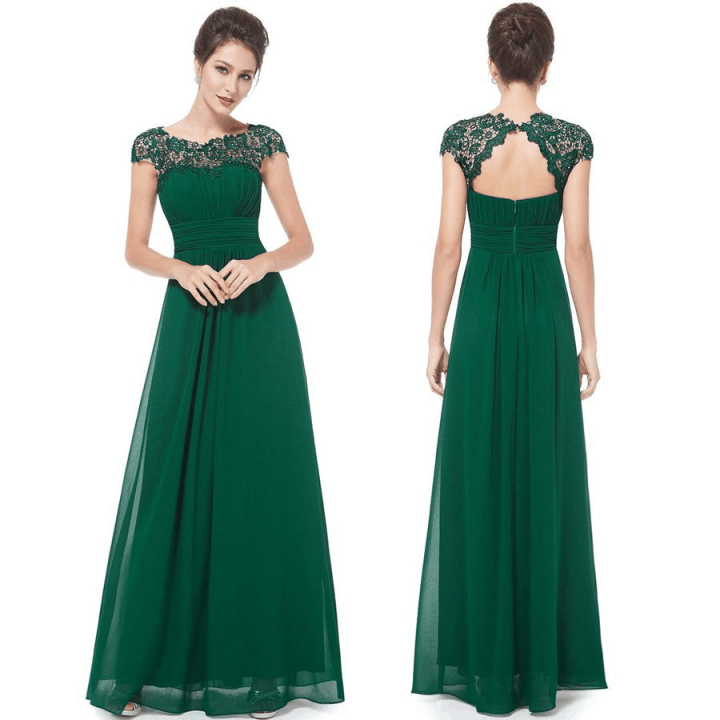 Image of Elegant Cap Sleeves Olive Green Long Chiffon Bridesmaid Dresses Wedding Party Dresses