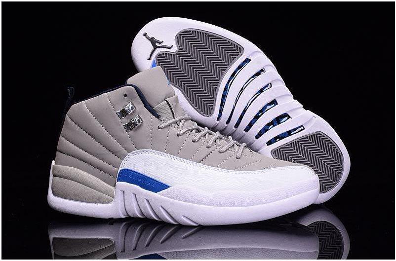 "2016 Nike Air Jordan 12""unc""retro Mens Basketball Shoes Wolf Grey/university Blue-white Sneakers 130690-007 Sz 8-13"