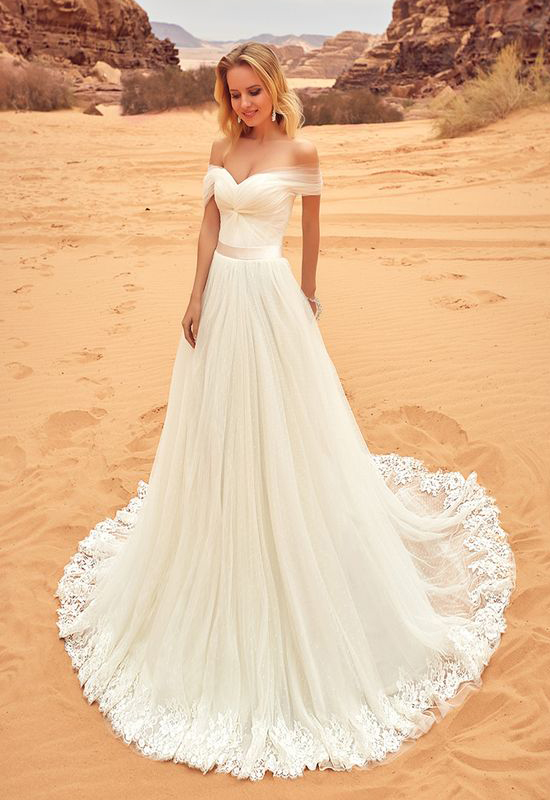 Ivory Wedding Dress,Lace Wedding Dresses,Off Shoulder Wedding ...