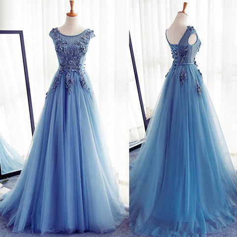 Cap Sleeves Blue Lace Tulle Prom Dresses Evening Gowns