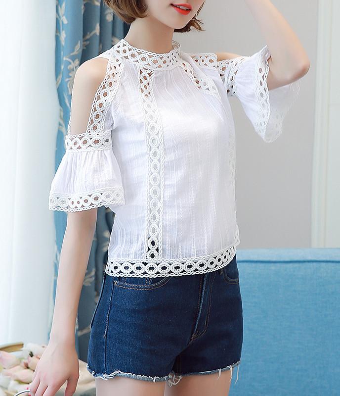e7ab2b560b7297 XS-L white chiffon short cold off shoulder sleeve sheer lace blouse sexy top  gyaru