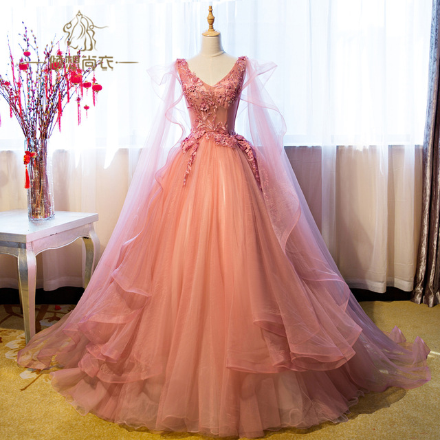 e64ea0e143aae Luxury Appliqued Puffy Long Prom Dress,Princess Ball Gown Prom Dresses,Princess  Evening Gown on Storenvy