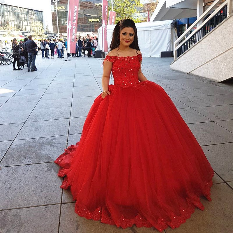Red And White Ball Gown Wedding Dress: Red Lace Off Shoulder Tulle Ball Gowns Wedding Dress,JD