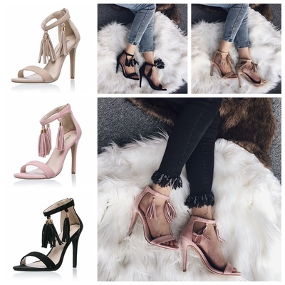 80105931740 Summer new tassel female sandals sexy flock open toe cover heels women shoes  casual office ladies