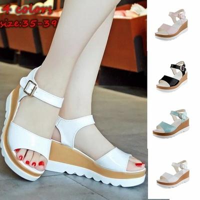 2017 summer women's fashion pu wedge sandals leisure fish mouth high heels flip flops