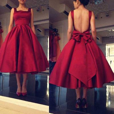 e7517a446b6a Burgundy satin open back plus size ball gown short prom dresses homecoming  dresses,tea length