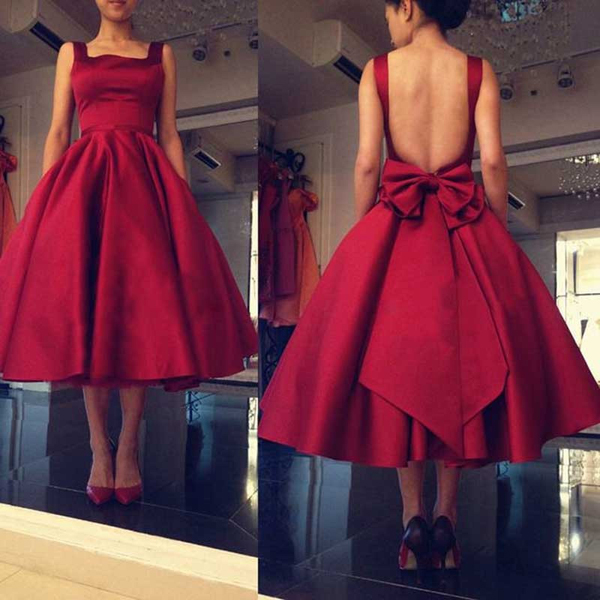 Burgundy Satin Open Back Plus Size Ball Gown Short Prom Dresses Homecoming  Dresses,Tea Length Prom Gowns With Bow Cheap Graduation Dresses from ...