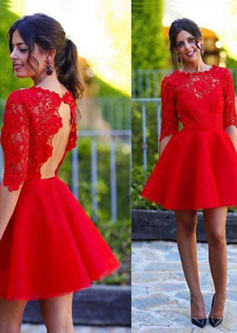 A-Line_Princess_Scoop_1_2_Sleeves_Lace_Short_Mini_Dresses_homecoming_dresses_cocktail_dresses