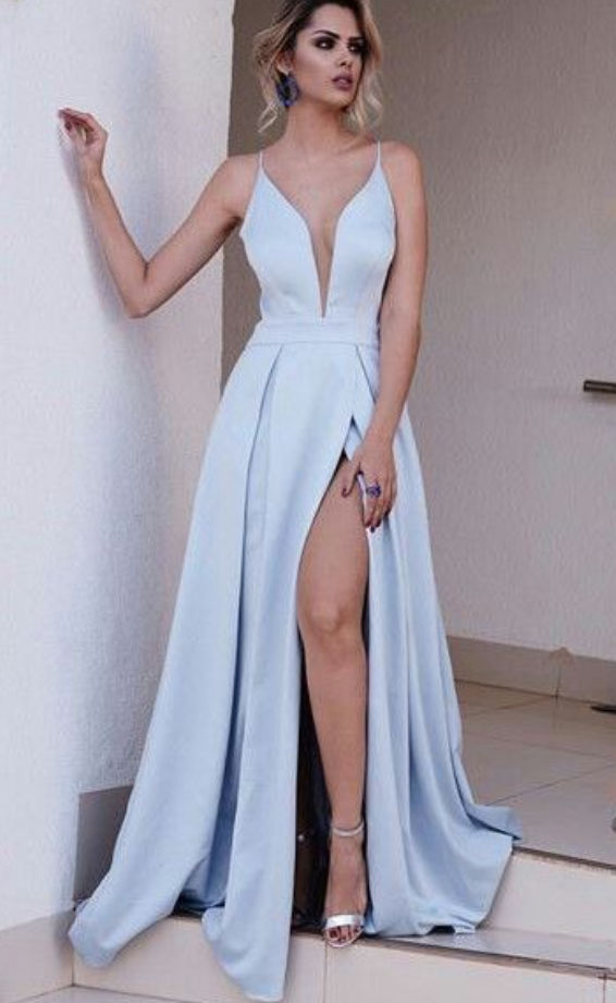 953e1f387b Prom Dresses A Line Plunging Neck Light Blue Prom Dress with High ...