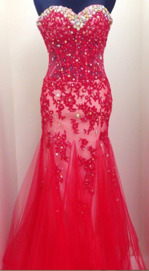 Red_Beading_Appliques_Mermaid_Tulle_Prom_Dresses