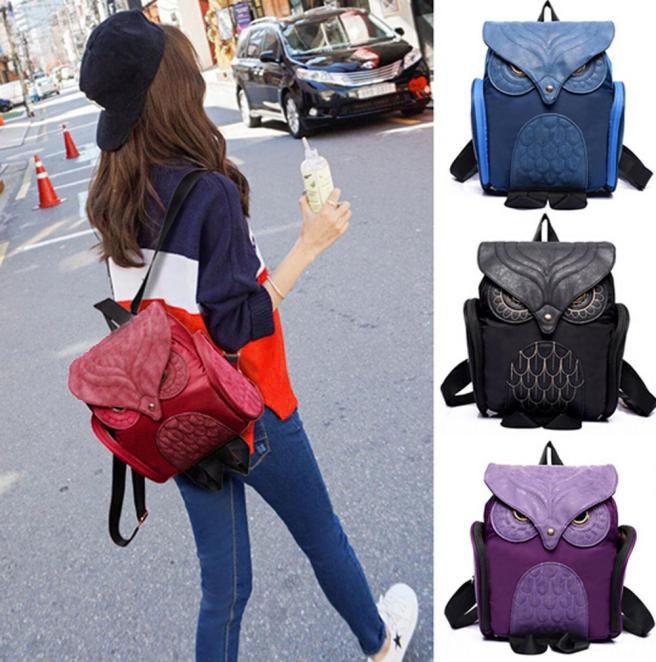 Leather Cute Owl Backpack Daypack Bag Women