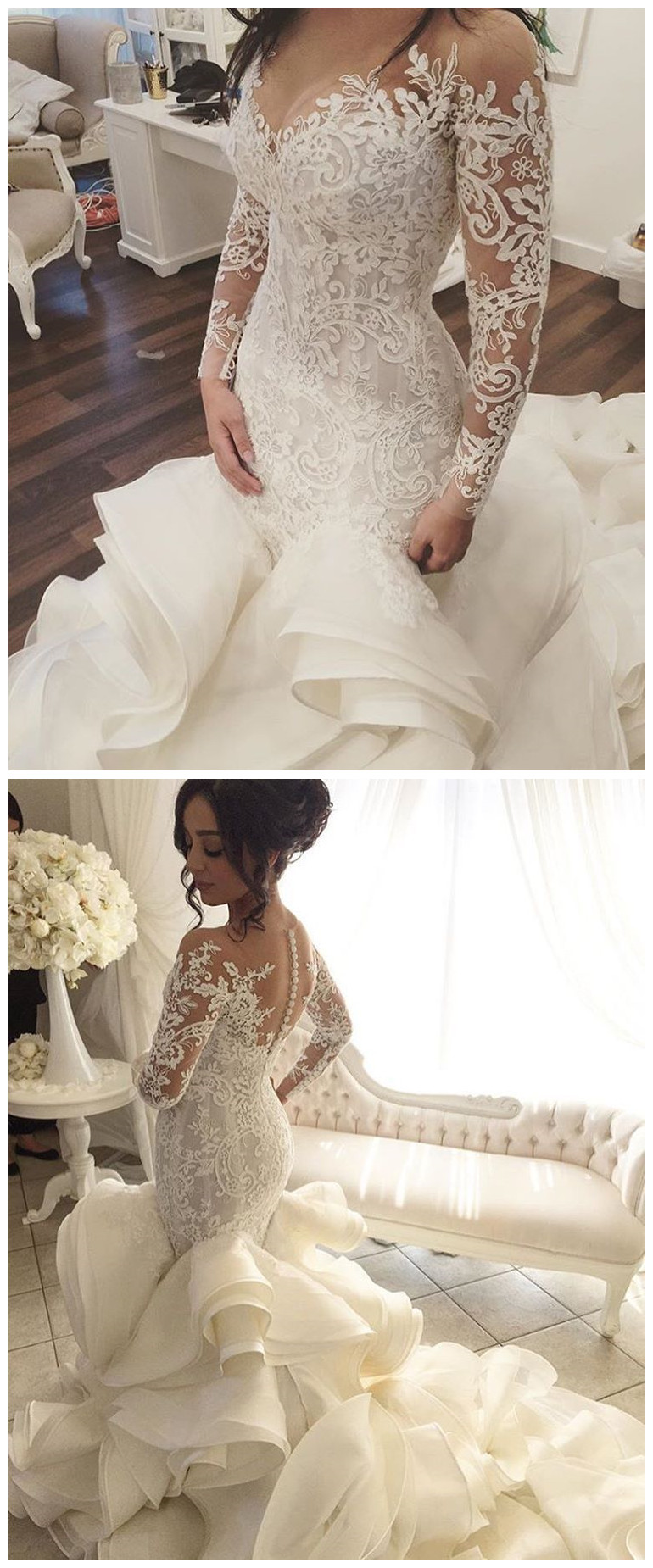 vestido de noiva Vintage Wedding Dresses with Sheer Long Sleeves ... 994b3cc387ea