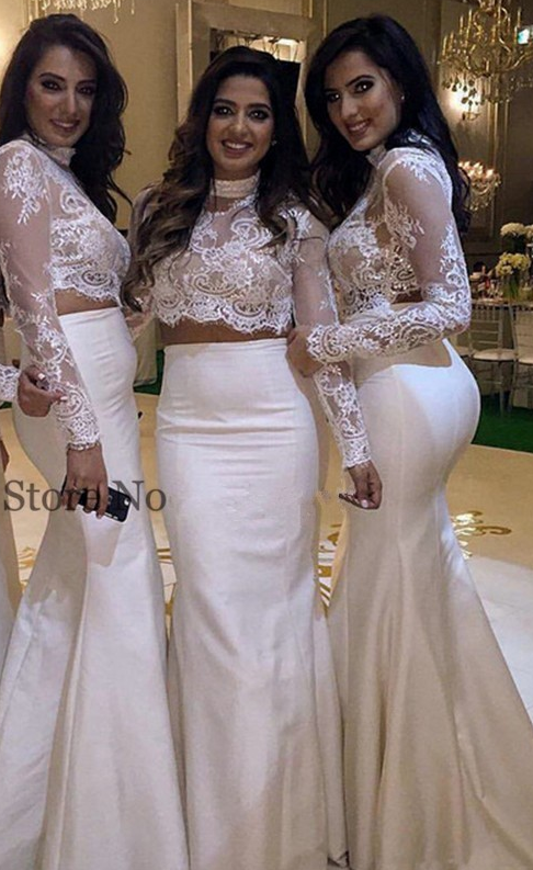 Two_Pieces_Mermaid_High_Collar_Long_Sleeve_Lace_Appliques_Long_Bridesmaid_Dresses_Cheap_Under_50_Wedding_Party_Dresses