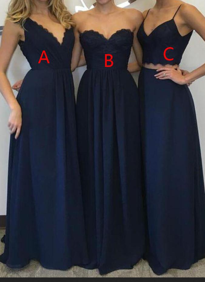 6b122a4da4 Chiffon Navy Blue Bridesmaid Dresses Sexy Cheap African Bridesmaids Dresses  Long