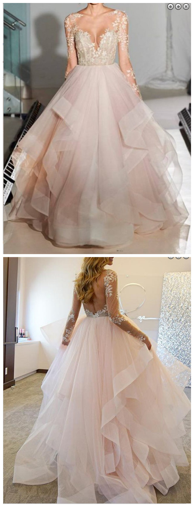 Elegant_A-Line_Bateau_Long_Sleeves_Illusion_Back_Appliques_Beading_Tulle_Wedding_Dress