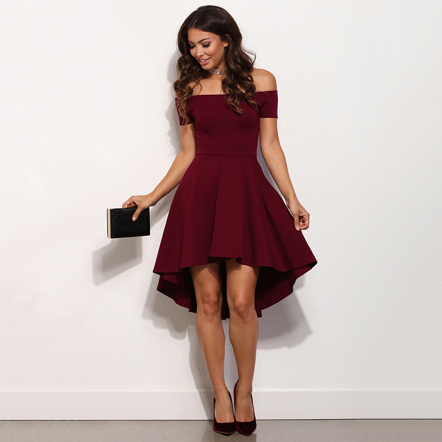 super quality official shop women Burgundy Prom Dresses, High Low Prom Dress, A-line Off-the-shoulder Short  Homecoming Dresses, Modest Satin Asymmetrical Party Dresses, #020103520  from ...