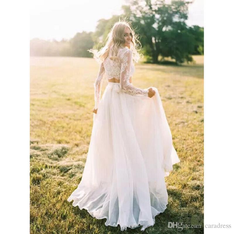 XP325 2017 Elegant Two Pieces Lace Wedding Dresses Plus Size ...