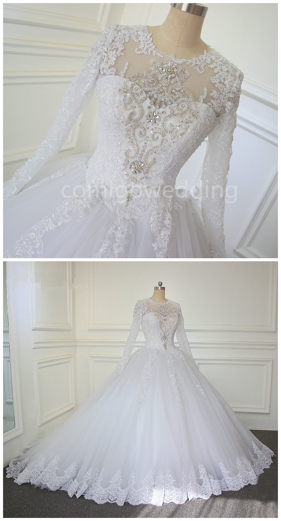 Luxury Cathedralroyal Train Ball Gown Wedding Dress Lace Beading