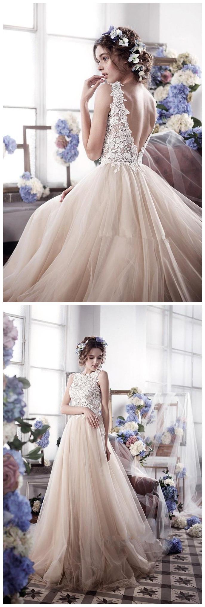 Sleeveless_Romantic_Tulle_bridal_dresses_wedding_gowns_Vintage_Appliques_Wedding_Dress