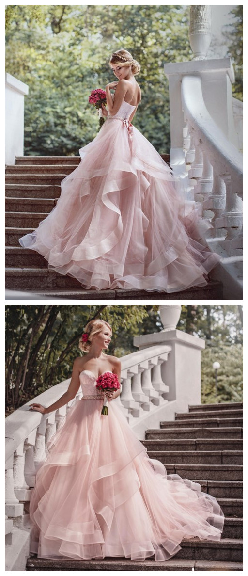 Luxurious_Sweetheart_bridal_gowns_wedding_gowns_Pink_Wedding_Dress_Tulle_Ruffles_bridal_dresses