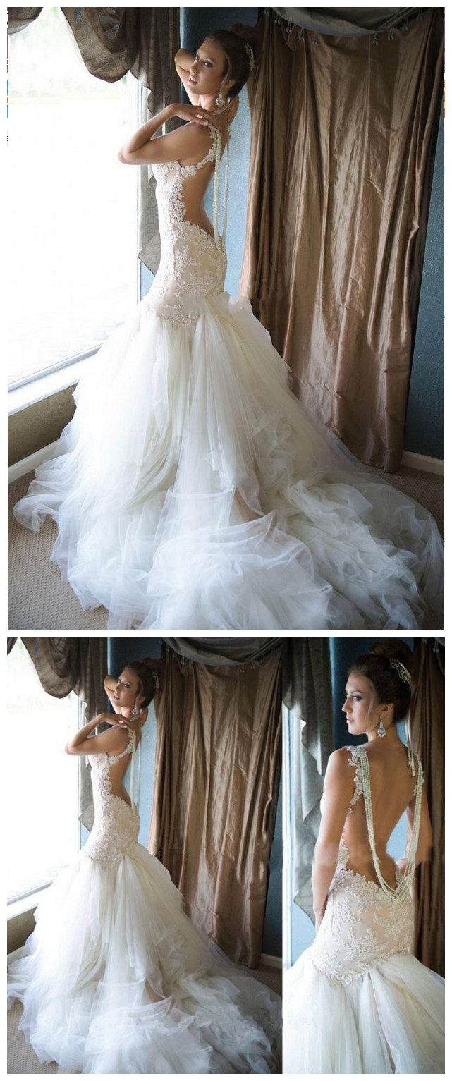 Glamorous_Pearls_Mermaid_Wedding_Dress_Tulle_Lace_bridal_dresses_backless_wedding_gowns