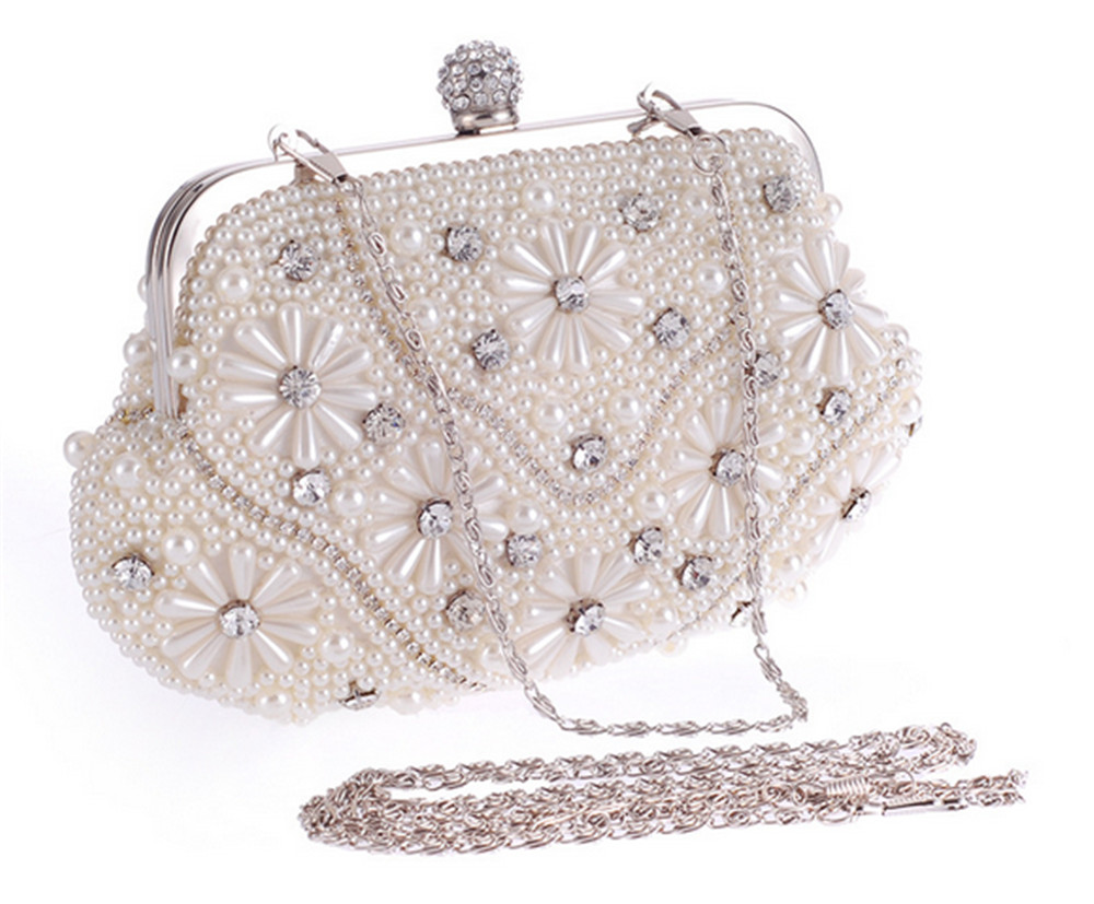 Pearls Beaded Floral Wedding Bridal Clutch Bag Crystal Ball Clasp Party Prom Purse 2017 Hot Sale (65443958 Mia & Fiona) photo