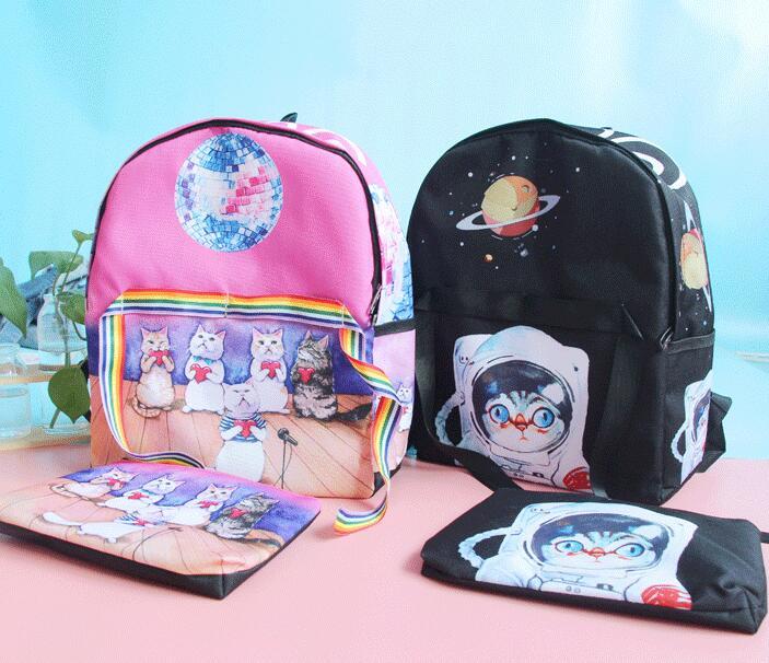 Harajuku Space Cat Backpack With Purse (65644964 Moooh!!) photo