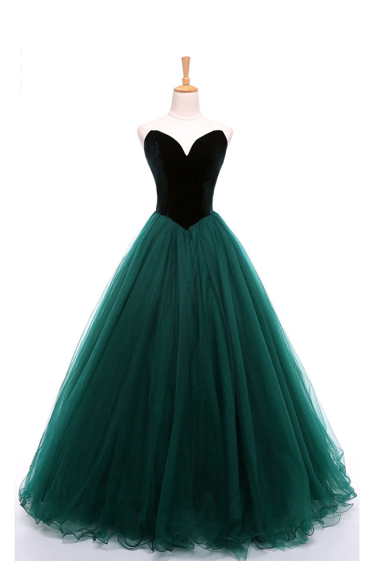 enjoy lowest price super cute professional website Sweetheart deep green velvet long tulle A-line formal prom dress, strapless  bridesmaid dress from Girlsprom
